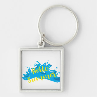 Hello Summer, Waves Graphic, Cool White Silver-Colored Square Keychain