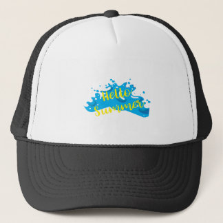 Hello Summer, Waves Graphic, Cool White Trucker Hat