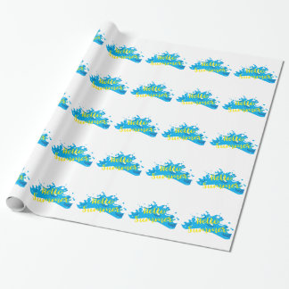 Hello Summer, Waves Graphic, Cool White Wrapping Paper