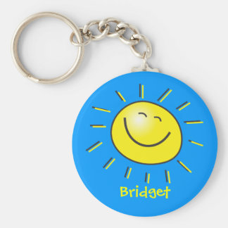 Hello sun basic round button keychain