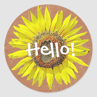 Hello Sunflower Stickers Yellow and Brown