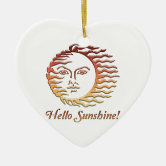 HELLO SUNSHINE Fun Sun Summer Ceramic Heart Ornament