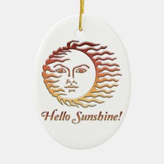 HELLO SUNSHINE Fun Sun Summer Ceramic Ornament