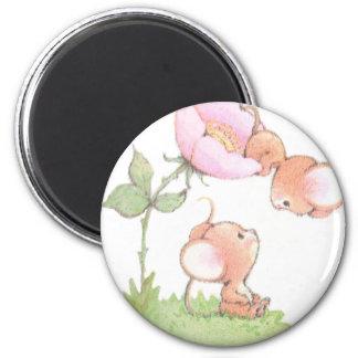 Hello Sunshine Mice with Flower 2 Inch Round Magnet