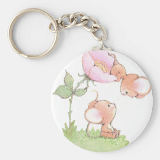 Hello Sunshine Mice with Flower Basic Round Button Keychain