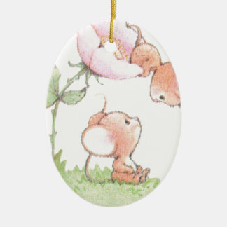 Hello Sunshine Mice with Flower Ceramic Oval Ornament