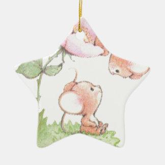 Hello Sunshine Mice with Flower Ceramic Star Ornament