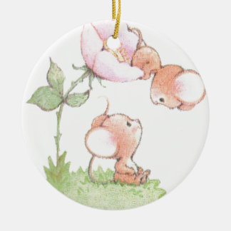 Hello Sunshine Mice with Flower Round Ceramic Ornament