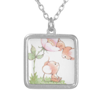 Hello Sunshine Mice with Flower Silver Plated Necklace