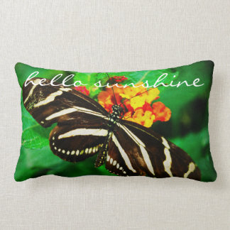 """Hello Sunshine"" Quote Black White Butterfly Photo Lumbar Pillow"