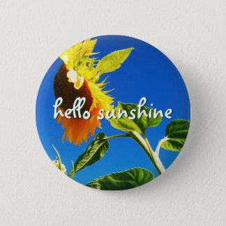 """Hello sunshine"" quote huge yellow sunflower photo 2 Inch Round Button"