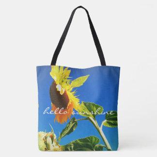 """Hello sunshine"" quote sunflower photo tote bag"