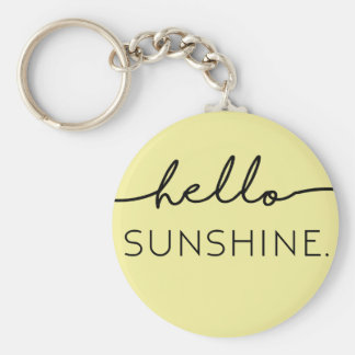 Hello Sunshine - Yellow Basic Round Button Keychain
