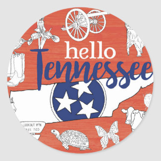Hello Tennessee Classic Round Sticker