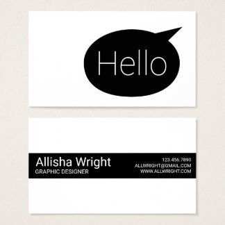 Hello Text Bubble Black and White Business Cards