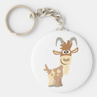 Hello There! Cute Cartoon Goat Basic Round Button Keychain