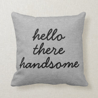 Hello there handsome rustic chic burlap linen jut throw pillow