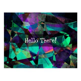 """Hello There!"" w/ Angular, Colorful Abstract Art Postcard"