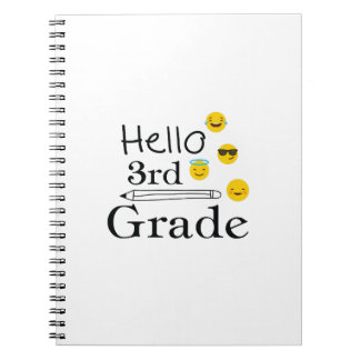 Hello Third Grade  3rd Emoji Funny Gifts Notebook