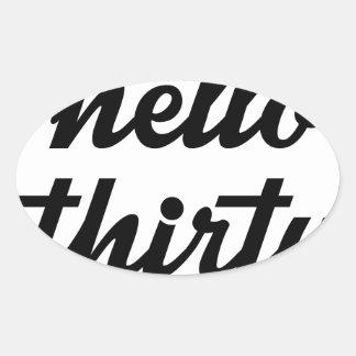 Hello Thirty Oval Sticker