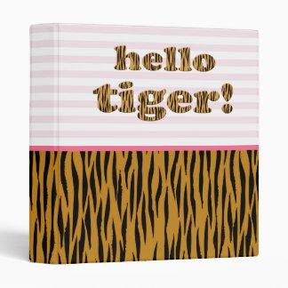 Hello Tiger! Blush Pink Stripes & Tigerprint 3 Ring Binders