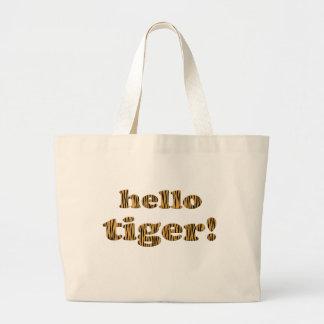 Hello Tiger! Fun Quote Tigerprint Tote