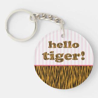 Hello Tiger!  | Pink Fun Quote Tigerprint Keychain
