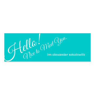 Hello! Turquoise Profile Business Card