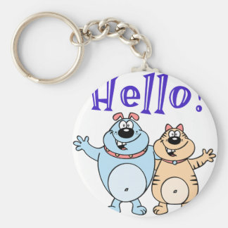 hello, two cute cartoons design basic round button keychain