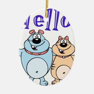 hello, two cute cartoons design ceramic ornament