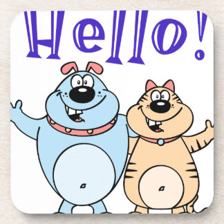 hello, two cute cartoons design coaster