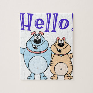 hello, two cute cartoons design jigsaw puzzle