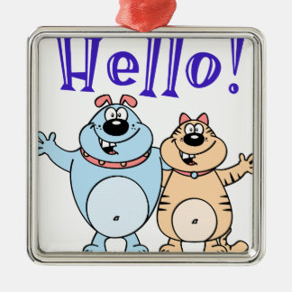 hello, two cute cartoons design metal ornament