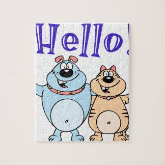 hello, two cute cartoons design puzzle