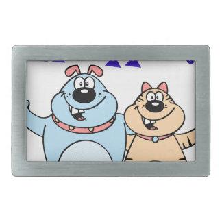 hello, two cute cartoons design rectangular belt buckles