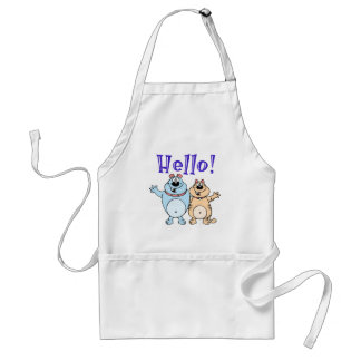 hello, two cute cartoons design standard apron