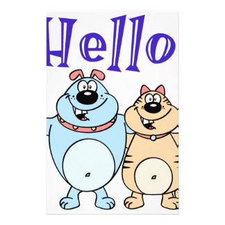 hello, two cute cartoons design stationery