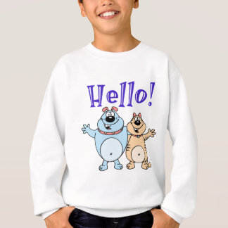 hello, two cute cartoons design sweatshirt
