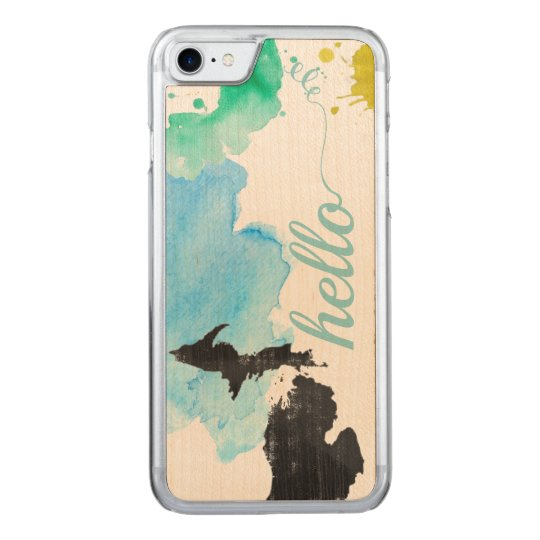 Hello Typography Watercolor Abstract Michigan Carved iPhone 8/7 Case