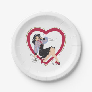 Hello Valentine Pin-Up Girl Paper Plate
