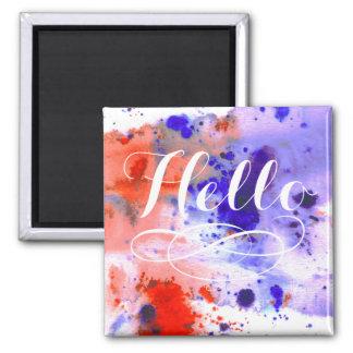 Hello | Watercolor Square Magnet