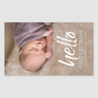 Hello Whimsical brushed lettering with Baby Photo Sticker