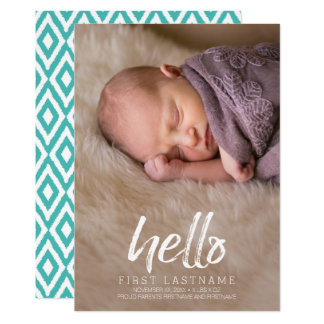 Hello Whimsical brushed letters Baby Boy Photo Card