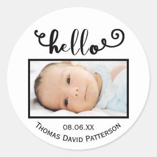 hello white background photo - Circle Sticker