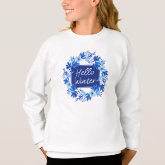 Hello Winter Blue Flower Girl's Sweatshirt