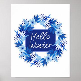 "Hello Winter Blue Flower print 8""x10"" Watercolor"