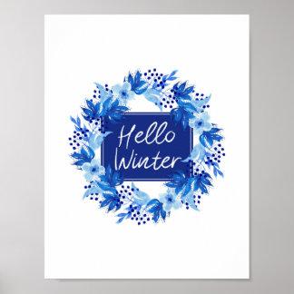 Hello Winter Blue Flower print Watercolor