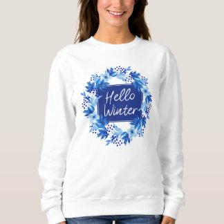 Hello Winter Blue Flower Women's Sweatshirt