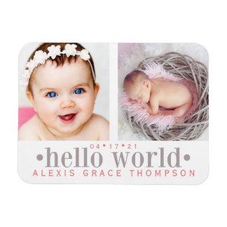 Hello World | 2-Photo Birth Announcement Rectangular Photo Magnet