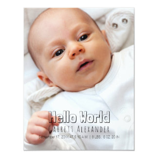 Hello World Birth Annoucement Card
